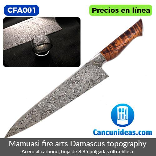 CFA001-Mamuasi-Fire-Arts-cuchillo-gyuto-damascus-topography-8.85-pulgadas-Cancunideas